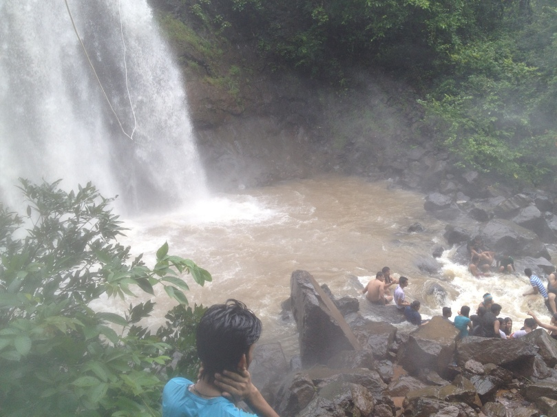 View of the pouring waterfall, from the end point