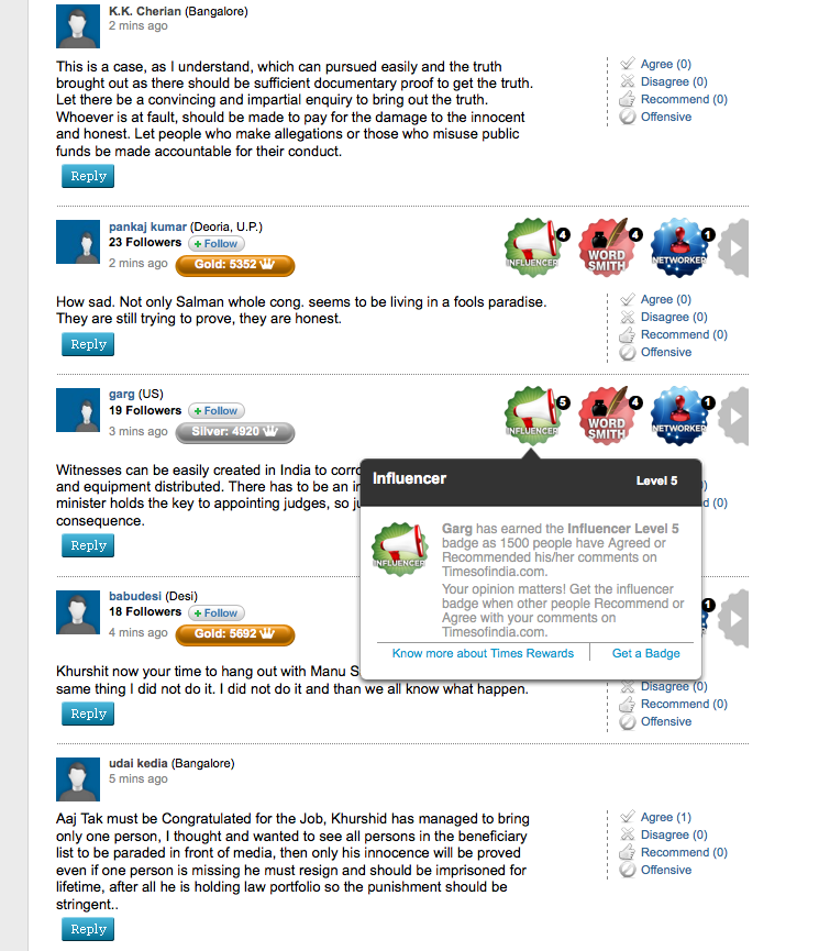 Gamified comments section on Times of India website