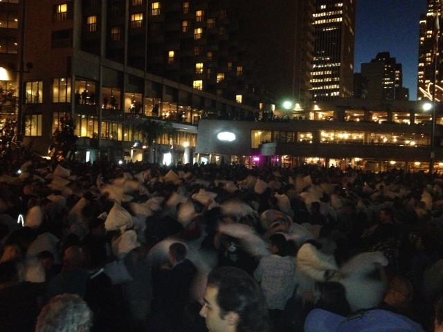 Pillow Fight at Embarcadero